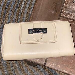 Etienne Aigner white leather zip-around wallet